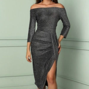 Off Shoulder Dress in Glittering Grey
